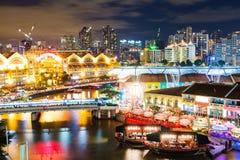 De nacht van Singapore Royalty-vrije Stock Fotografie