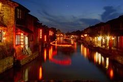 De nacht van stad XiTang Stock Afbeelding
