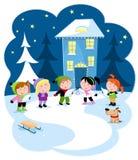 De nacht van de Starywinter - Kinderen die Kerstmishymnes zingen royalty-vrije illustratie
