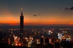 De Nacht van Taipeh 101 Stock Afbeeldingen