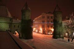 De Nacht van Tallinn Stock Foto