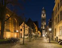 De Nacht van Utrecht Buurkerkhof Stock Foto's