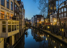 De Nacht van Utrecht Oude Gracht Royalty-vrije Stock Foto