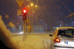 De nacht van de de winterstad royalty-vrije stock afbeeldingen