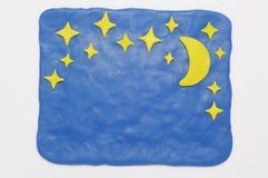 De nachtachtergrond van de plasticine Stock Foto