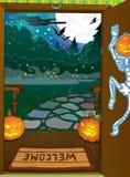 De nachtachtergrond van Halloween Stock Afbeelding