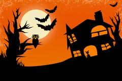 De nachtachtergrond van Halloween royalty-vrije illustratie