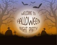 De nachtachtergrond van Halloween Stock Afbeeldingen