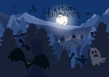 De nachtachtergrond van Halloween Royalty-vrije Stock Afbeeldingen