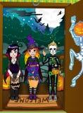 De nachtachtergrond van Halloween. Bedriegt en behandelt Stock Afbeeldingen