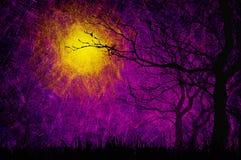 De nachtachtergrond van Halloween van Grunge geweven stock illustratie