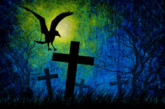 De nachtachtergrond van Halloween van Grunge geweven vector illustratie