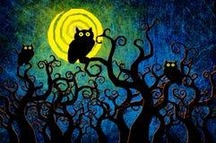 De nachtachtergrond van Halloween van Grunge geweven Stock Foto's