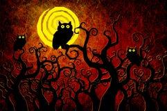 De nachtachtergrond van Halloween van Grunge geweven Stock Foto