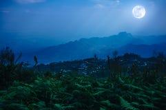 De nachthemel met mistige bewolkt en zonnestraal, is swingin boven mounta Stock Fotografie