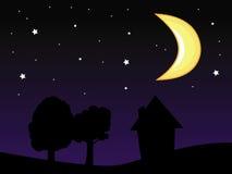 De nachthemel van de maan Royalty-vrije Stock Afbeeldingen