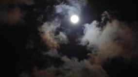 De nachthemel van volle maanwolken stock footage