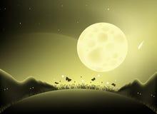 De nachtillustratie van de maan Stock Afbeelding