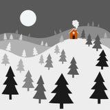 De nachtlandschap van de winter Royalty-vrije Stock Afbeeldingen