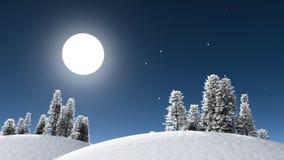 De nachtlandschap van de winter Royalty-vrije Stock Afbeelding