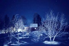 De nachtlandschap van de winter Stock Afbeelding