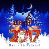 De nachtlandschap van de winter De kaart van de Kerstmisgroet 2017 Stock Afbeelding