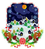 De nachtlandschap van het de winterdorp Bos, sneeuwvlokken, pijnboomtak, kegels Stock Foto's