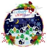 De nachtlandschap van het de winterdorp en het Gelukkige Nieuwjaar van de vakantietekst `! ` Royalty-vrije Stock Foto