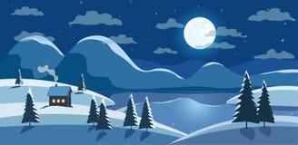 De nachtlandschap van de winter stock illustratie