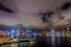 De nachtlicht van stadshong kong royalty-vrije stock foto's