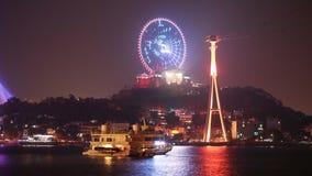 De nachtmening van de stad van Ha snakt stock video