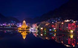 De nachtmening van de Zhenyuan oude stad Royalty-vrije Stock Fotografie