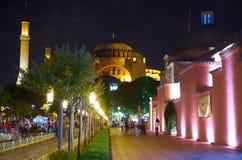 De nachtmening van gang aan Hagia Sophia door de Sultan A Stock Afbeelding
