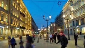 De nachtmening van heilige Petersburg Stock Foto's