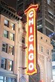 De nachtmening van het Theater van Chicago stock foto