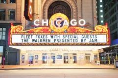 De nachtmening van het Theater van Chicago stock afbeeldingen