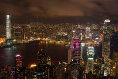 De nachtmening van Hongkong royalty-vrije stock afbeelding