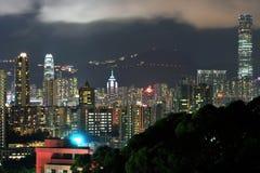 De nachtmening van Hongkong Stock Afbeelding