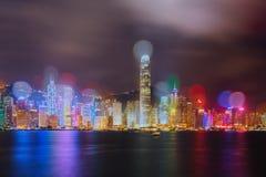 De nachtmening van Hongkong Stock Afbeeldingen