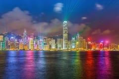 De nachtmening van Hongkong Stock Fotografie