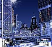 De nachtmening van Hongkong vector illustratie