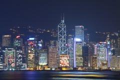 De nachtmening van Hongkong bij Kerstmis Stock Fotografie
