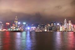 De nachtmening van Hongkong stock foto