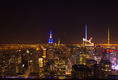 De Nachtmening van Manhattan vanaf Bovenkant van het Rockefeller-Centrum Stock Foto
