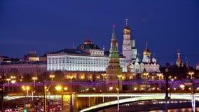 De nachtmening van Moskou het Kremlin stock videobeelden
