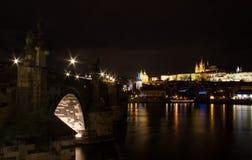 De nachtmening 1 van Praag Stock Foto's