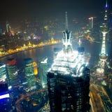 De nachtmening van Shanghai overzien Stock Afbeeldingen