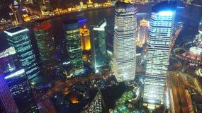 De nachtmening van Shanghai overzien Royalty-vrije Stock Afbeelding