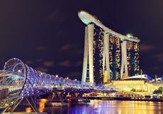 De nachtmening van Singapore Stock Foto
