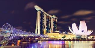 De nachtmening van Singapore Stock Afbeeldingen